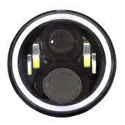 """Land Rover Series 2 - LED80BL-HQ-DRL - 7"""" round LED headlamp 12/24V BLACK 80Watt Day Running Light (each)"""