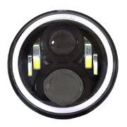 """Verlichting-LED - Range Rover Classic 1986 - 1994 - LED80BL-HQ-DRL - 7"""" round LED headlamp 12/24V BLACK 80Watt Day Running Light (each)"""
