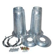 Range Rover - DA1186 - Galvanised turrets, spring plates, securing rings and bolts (pair)